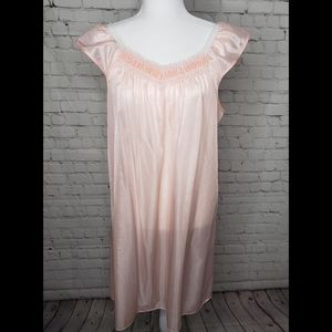 Deadstock Vintage 60s Pink White Lace Night Gown